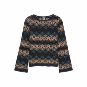 M Missoni Zigzag Metallic-knit Top