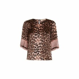 Traffic People Leopard Print Satin Fringe Sleeve Top In Pink
