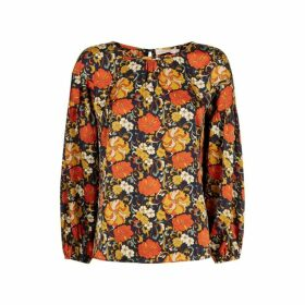 Traffic People Seasons Round Neck Floral Top In Navy