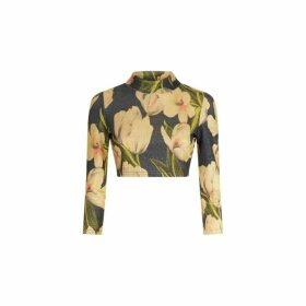Traffic People Eunices Floral Metallic Crop Top In Blue