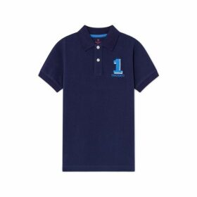 Hackett No.1 Logo Cotton Short-sleeved Polo Shirt