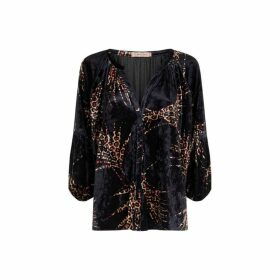 Traffic People Folklore 3-4 Sleeve Velvet Shirt In Black And Gold
