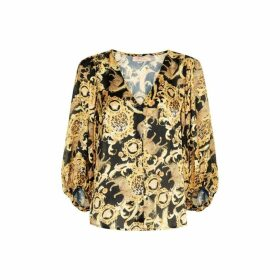 Traffic People Vice Long Sleeved Satin V-neck Shirt In Black And Gold