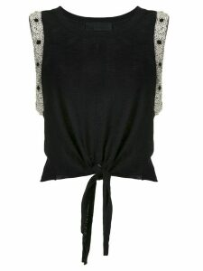 Andrea Bogosian embroidered tie waist blouse - Black