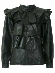 Andrea Bogosian ruffled leather blouse - Black