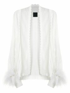 Andrea Bogosian feather appliqué knit cardigan - White