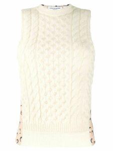 Marine Serre contrast knit top - NEUTRALS