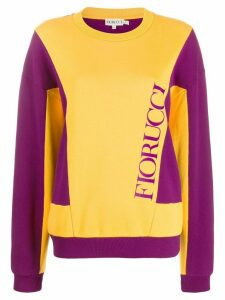 Fiorucci logo print colour-block sweatshirt - ORANGE
