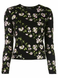 Giambattista Valli floral long-sleeve sweater - Black