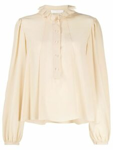 Chloé embroidered ruffled blouse - NEUTRALS