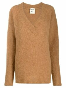 Semicouture v-neck knit sweater - Brown