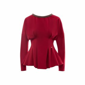 Nissa - Red Bodycon Top With Neck Detail
