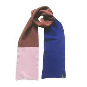 Giannina Capitani - Moss Stitch Midi Scarf In Blue/Brown/Pink
