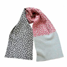 Giannina Capitani - Dash Wide Scarf In Grey, Red, Black & Aqua
