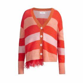IN. NO - Papaya Pink Ashley Stripe Feather Trim Cardigan