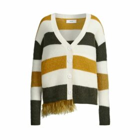 IN. NO - Army Ashley Striped Feather Trim Cardigan