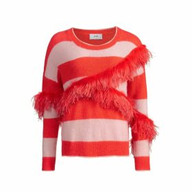 IN. NO - Papaya Pink Alexis Stripe Feather Sweater
