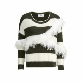 IN. NO - Army White Alexis Striped Feather Sweater
