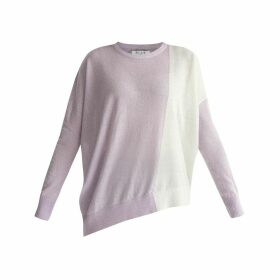 PAISIE - Knitted Two Tone Top With Asymmetric Hem In Lilac & White