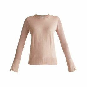 PAISIE - Soft Knitted Top With Sheer Sleeves & Cuff Splits In Blush