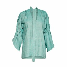 CocooVe - Maxine Silk Linen Blouse With Neck Tie In Mint