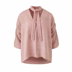 CocooVe - Maxine Silk Blouse With Neck Tie In Pink