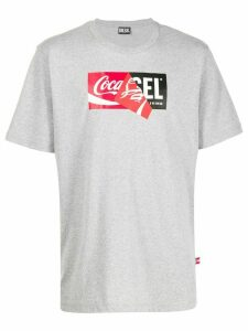 Diesel recycled fabric double logo T-shirt - Grey