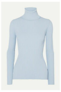 Proenza Schouler - Button-detailed Ribbed-knit Turtleneck Sweater - Blue