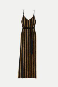 Retrofête - Rebecca Velvet-trimmed Striped Sequined Chiffon Maxi Dress - Black