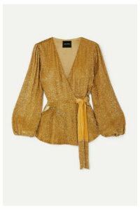 Retrofête - Bette Velvet-trimmed Sequined Chiffon Wrap Top - Gold