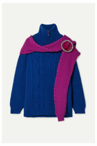 Christopher Kane - Oversized Crystal-embellished Layered Wool Sweater - Royal blue