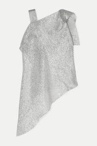 Roland Mouret - Iver Asymmetric Silk-blend Lurex Blouse - Silver