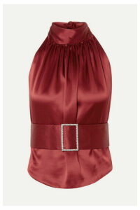 HARMUR - Open-back Belted Silk-satin Halterneck Top - Burgundy