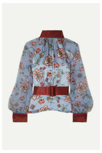 HARMUR - Belted Floral-print Silk-satin And Silk-chiffon Blouse - Blue