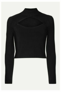 Fleur du Mal - Cutout Pointelle-paneled Stretch-knit Turtleneck Top - Black