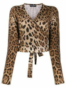 Dolce & Gabbana leopard print wrap jumper - Brown