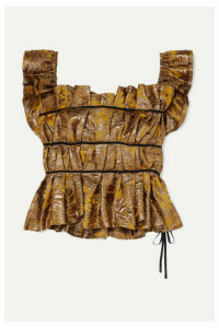 Brock Collection - Grosgrain-trimmed Gathered Brocade Bustier Top - Gold