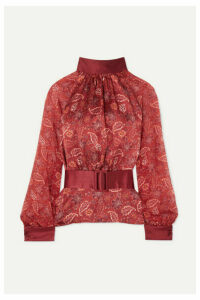 HARMUR - Open-back Floral-print Silk-satin And Silk-chiffon Blouse - Burgundy