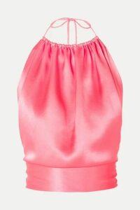 HARMUR - Open-back Silk-satin Halterneck Top - Pink