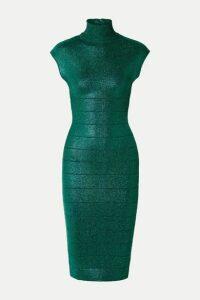 Hervé Léger - Metallic Bandage Turtleneck Dress - Emerald