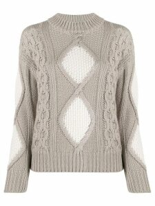 Lorena Antoniazzi mixed knit jumper - NEUTRALS