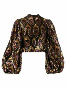Giuseppe Di Morabito sequinned bell sleeve blouse - GOLD