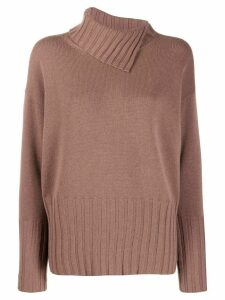 Peserico asymmetric neck jumper - Brown
