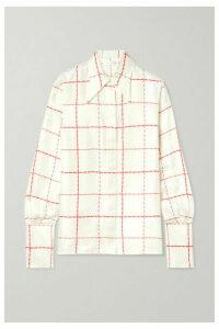Victoria Beckham - Checked Silk-satin Shirt - Ivory