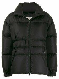 Moncler logo patch cuffs puffer jacket - Black
