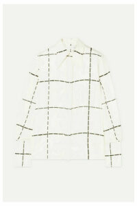 Victoria Beckham - Checked Silk-twill Shirt - Ivory