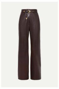 Nanushka - Kisa Belted Vegan Leather Straight-leg Pants - Merlot