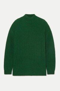 Alice + Olivia - Sarah Open-back Ribbed Silk-blend Turtleneck Sweater - Forest green