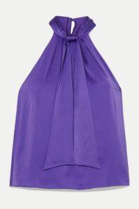 Alice + Olivia - Leia Tie-detailed Silk-blend Crepe Halterneck Top - Purple