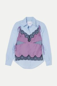 Pushbutton - Convertible Layered Cotton-poplin, Silk-charmeuse And Lace Shirt - Lilac